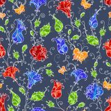 Seamless floral pattern. Four seamless textile or wallpaper patterns Stock Images
