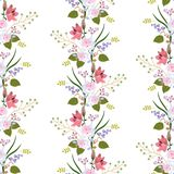 Seamless floral pattern with garland of garden flowers, leaves and branches islated on white background. Roses, lilies vector illustration