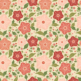 Seamless floral pattern with geometric stylized flowers. Stock Photography