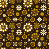 Seamless floral pattern with geometric stylized flowers. Royalty Free Stock Image
