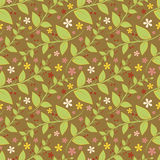 Seamless floral pattern with geometric stylized leaves and flowers. Royalty Free Stock Images