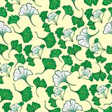 Seamless floral pattern with ginkgo leaves. Ginkgo biloba. For your design vector illustration