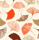 Seamless floral pattern with Ginkgo leaves. Vector graphic background. Stock Image