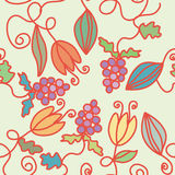 Seamless floral  pattern with grape Royalty Free Stock Image