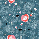 Seamless floral pattern with graphic cats Stock Photo