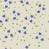 Seamless floral pattern. Seamless floral gray, purple and yellow background pattern Vector Illustration