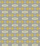 Seamless floral pattern, gray, and yellow flowers on a gray background. Stock Photo
