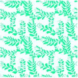 Seamless floral pattern green fern leaves on white stock. Vector illustration Stock Image