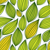 Seamless floral pattern, green leaves seamless background, hand Royalty Free Stock Image