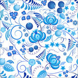 Seamless floral pattern Gzhel with blue ornamental flowers and white background. Russian ornament Royalty Free Stock Photos