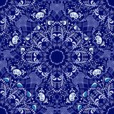 Seamless floral pattern in Gzhel style. Blue circular pattern on a dark background. Stock Photos