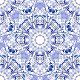 Seamless floral pattern in Gzhel style. Blue circular pattern on a white background. Royalty Free Stock Image