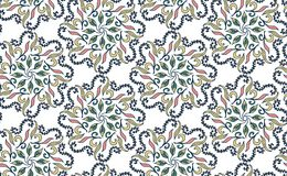 Seamless floral pattern in Gzhel style. Blue circular pattern on a white background. Vector illustration.  Royalty Free Stock Photo
