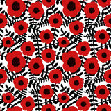 Seamless floral pattern hand drawn abstract red poppy flowers black twigs leaves white background, fabric, wallpaper Stock Images