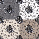 Seamless floral pattern. Hand drawn doodle flowers. Stock Photo