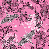 Seamless Floral Pattern With hand-drawn flowers an Stock Photos