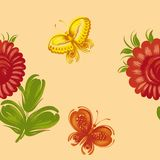 Seamless floral pattern. Hand drawn, , illustration in Ukrainian folk style Stock Image
