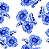 Seamless floral pattern. Hand drawn, , illustration in Ukrainian folk style Royalty Free Stock Image