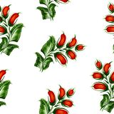 Seamless floral pattern. Hand drawn, , illustration in Ukrainian folk style Royalty Free Stock Photos