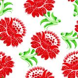Seamless floral pattern. Hand drawn, , illustration in Ukrainian folk style Royalty Free Stock Images