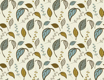 Seamless floral pattern with hand drawn leaves Royalty Free Stock Images