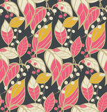 Seamless floral pattern with hand drawn leaves Stock Image