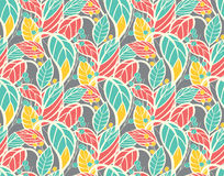 Seamless floral pattern with hand drawn leaves Royalty Free Stock Photo