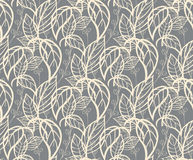 Seamless floral pattern with hand drawn leaves Stock Images