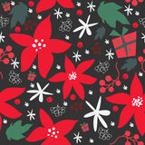 Seamless floral pattern of hand drawn poinsettia, berries, leafs, snowflakes. Winter/Fall/Merry Christmas Collection. Stock Images