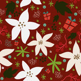 Seamless floral pattern of hand drawn poinsettia Stock Photos