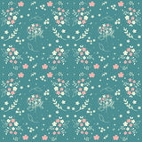 Seamless floral pattern hand drawn small white silhouette flowers in bouquet twigs berries on blueish green background, fabric, sc Stock Image