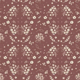 Seamless floral pattern hand drawn small white silhouette flowers in bouquet twigs berries on dark red background, fabric, scrapbo stock illustration