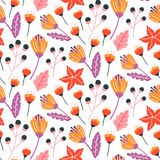 Seamless floral pattern with hand drawn wild flowers, leaves and herbs. stock illustration