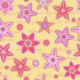 Seamless Pattern with Flowers and Hand Writing Text Royalty Free Stock Photo