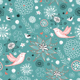 Seamless floral pattern with hearts and birds Royalty Free Stock Photos