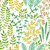 Seamless floral pattern with herbs and leaves