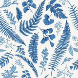 Seamless floral pattern with herbs and leaves. Stock Photos