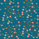 Seamless floral pattern with hips Stock Photo