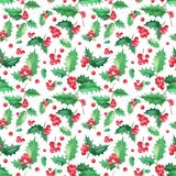 Seamless floral pattern with holly christmas stock illustration