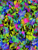 Seamless floral pattern with ikat. Seamless floral pattern. abstract multicolor flowers and leaves in layered textile design with ikat background. vibrant Royalty Free Stock Image
