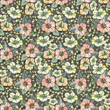 Seamless floral pattern. Illustration of seamless colored floral pattern on grey background Stock Photography