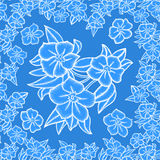 Seamless floral pattern. Illustration of seamless pattern with leaves and flowers in blue and white colors Royalty Free Stock Image