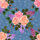 Seamless floral pattern. Illustration of seamless floral pattern with roses and lilac flowers Stock Photography