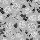 Seamless floral pattern. Illustration of seamless floral pattern with roses and lilac flowers in grey colors Stock Photography