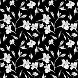 Seamless floral pattern. Pattern with ink graphics flowers on black background. Alstroemeria. Seamless pattern with hand. Drawn plants. Herbal Botanical stock illustration
