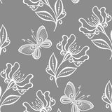 Seamless Floral Pattern with Insects (Vector) Royalty Free Stock Photography