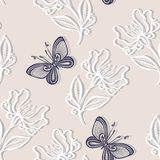 Seamless Floral Pattern with Insects (Vector) Stock Image