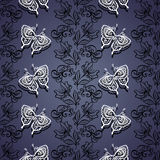 Seamless Floral Pattern with Insects (Vector) Royalty Free Stock Image