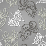 Seamless Floral Pattern with Insects (Vector) Royalty Free Stock Photo