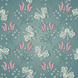 Seamless Floral Pattern with Insects (Vector) Stock Images